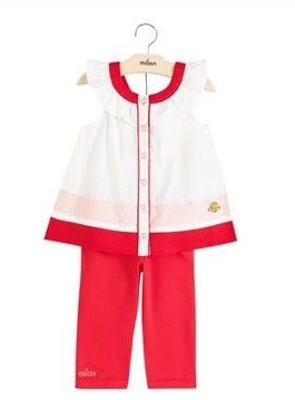 Conjunto Infantil Milon Feminino  branco/laranja  / Tamanho P