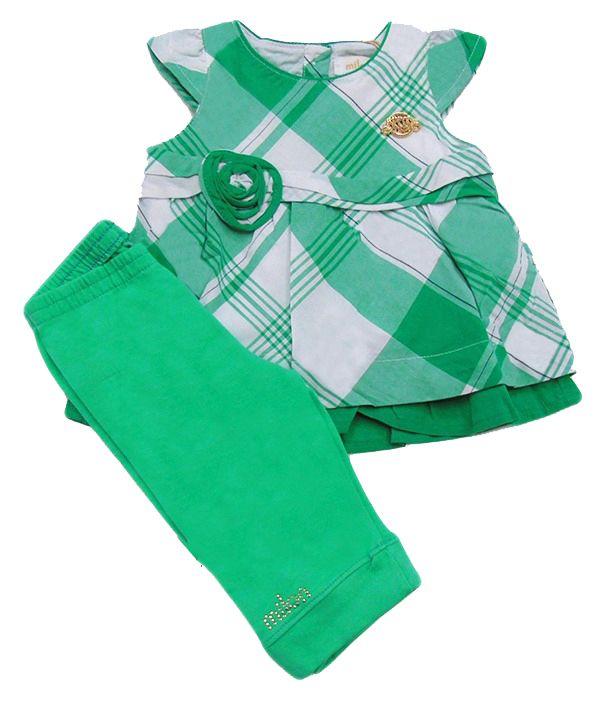 Conjunto bebê Milon Feminino xadrez/verde