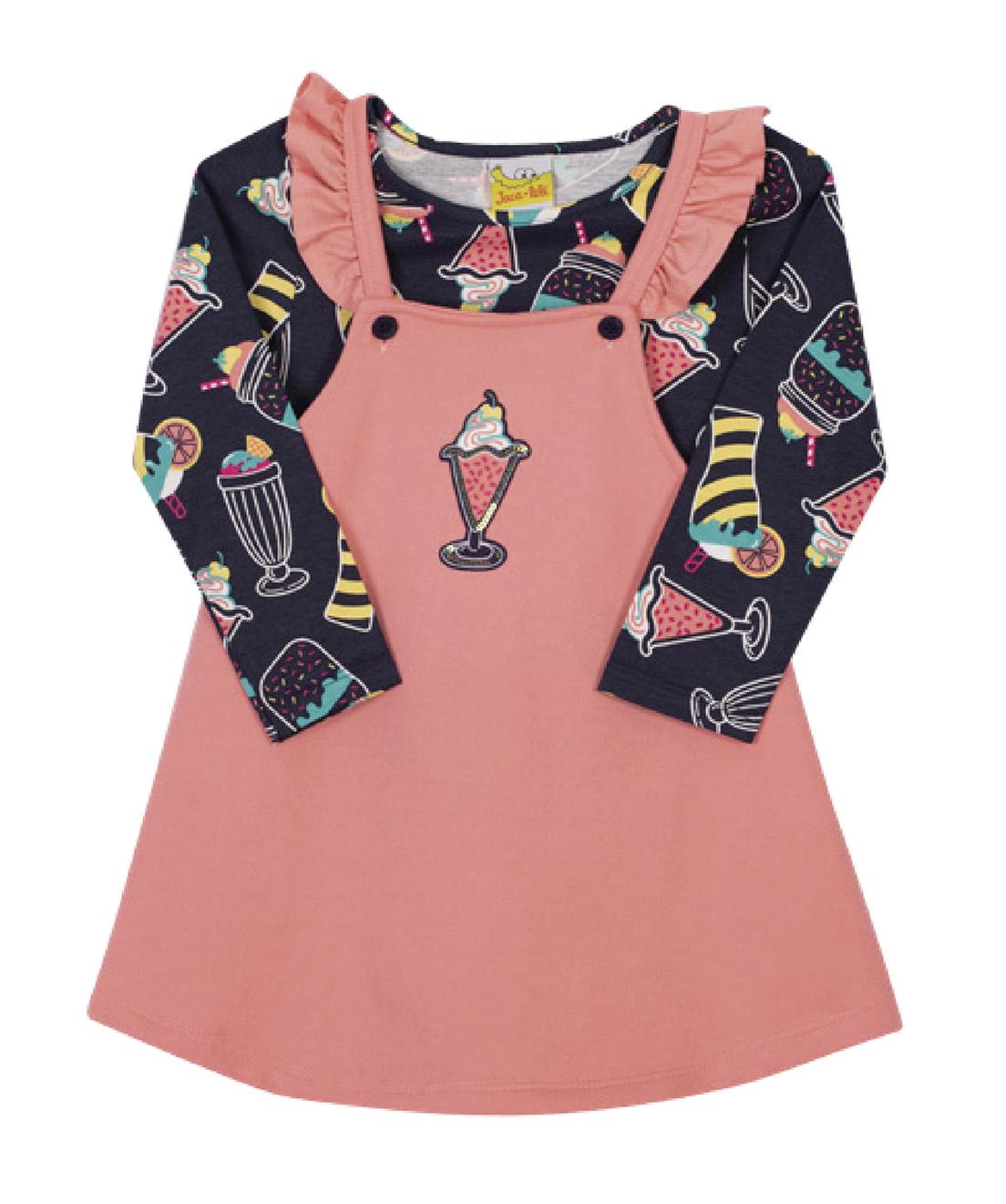 Conjunto Infantil Salopete e Camiseta Jaca Lelé Ice Cream Rosa
