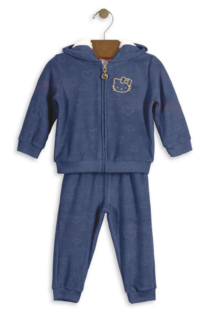 Conjunto Bebê Jaqueta com Capuz e Calça Hello Kitty Baby em plush Azul