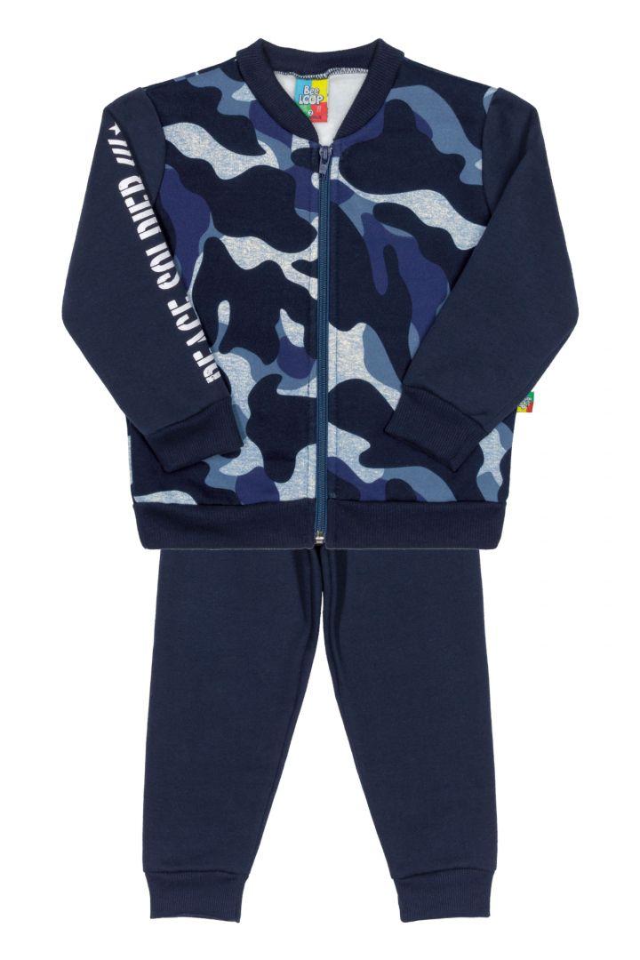Conjunto Infantil Jaqueta  e Calça em Moletom Bee Loop  Camuflado Azul