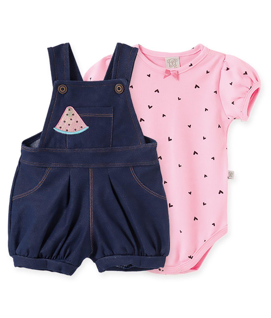 Conjunto Infantil Jardineira cotton Jeans e body  manga curta balonê Pingo Lelê Melancia  Rosa