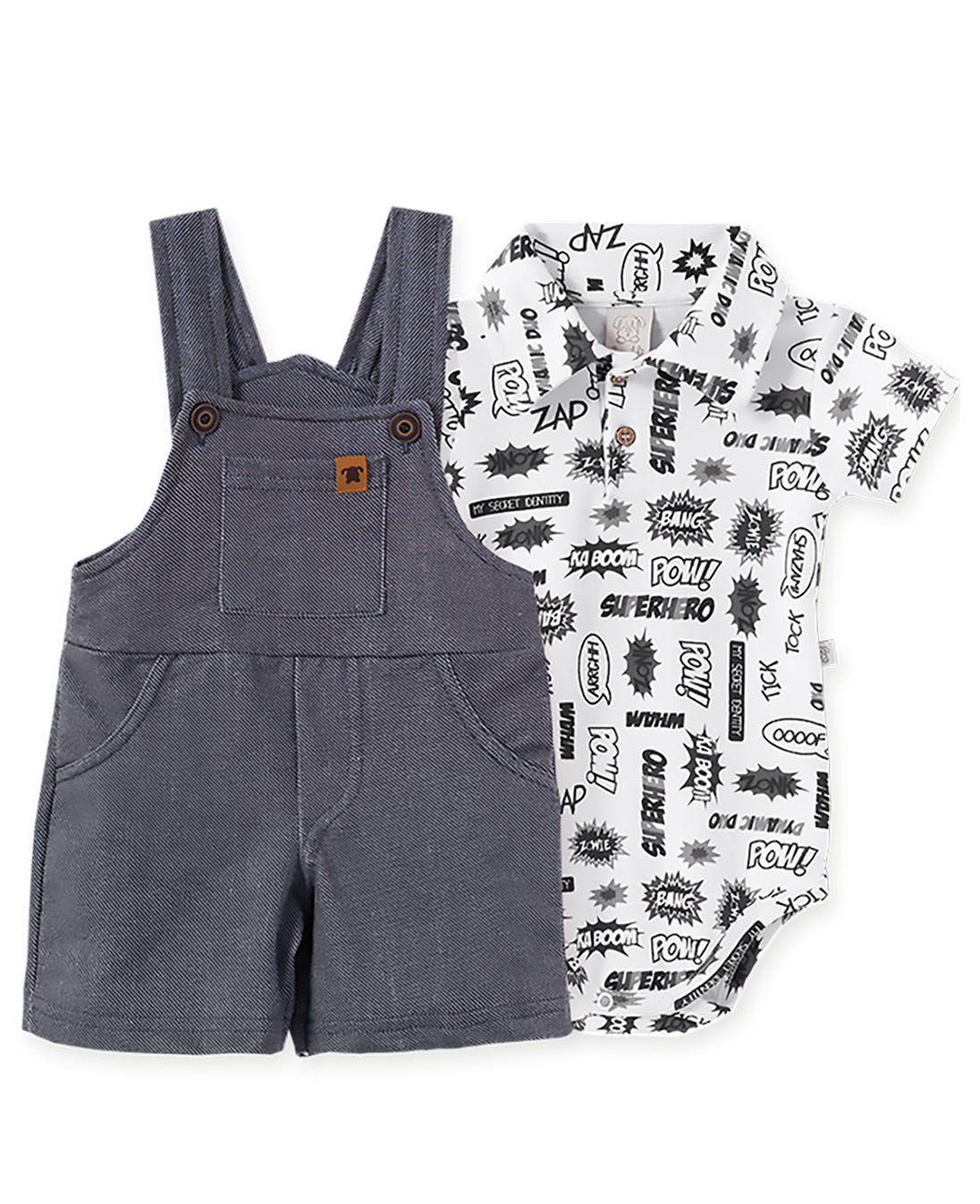 Conjunto Jardineira Curta Cotton Jeans e body  Gola Polo Pingo Lelê Super Herói