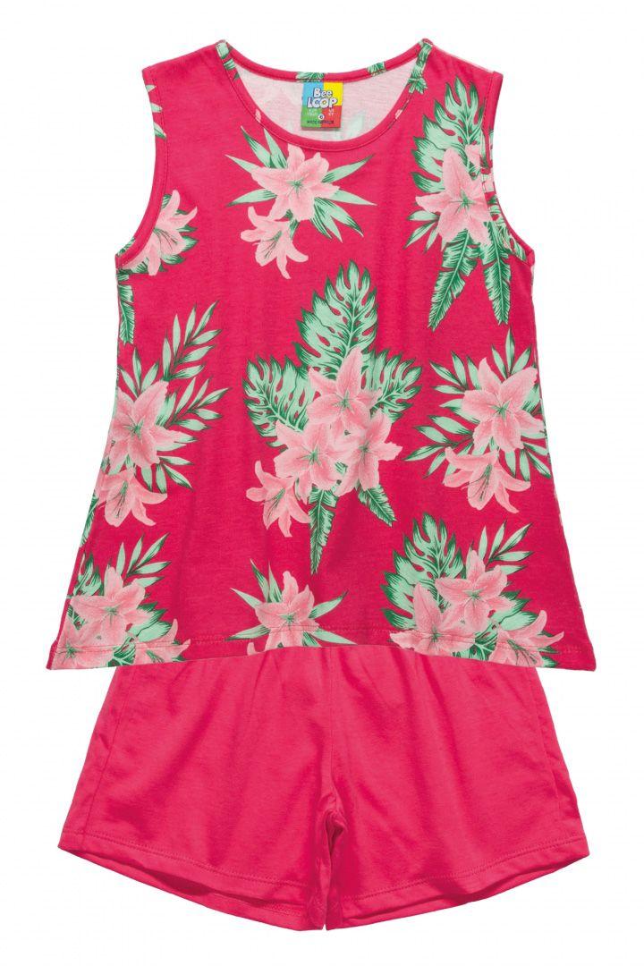 Conjunto Regata e Shorts  em meia malha  Bee Loop Floral Rosa