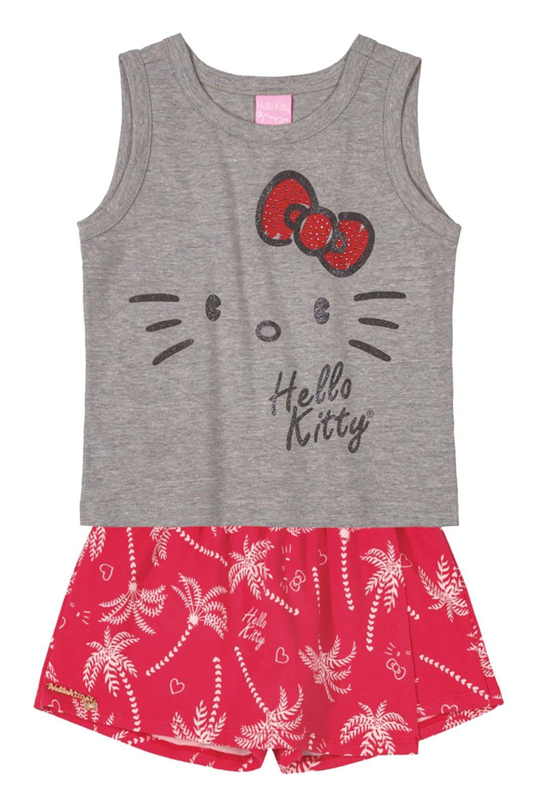 Conjunto Regata e Shorts Saia  Hello Kitty Mescla/Vermelho