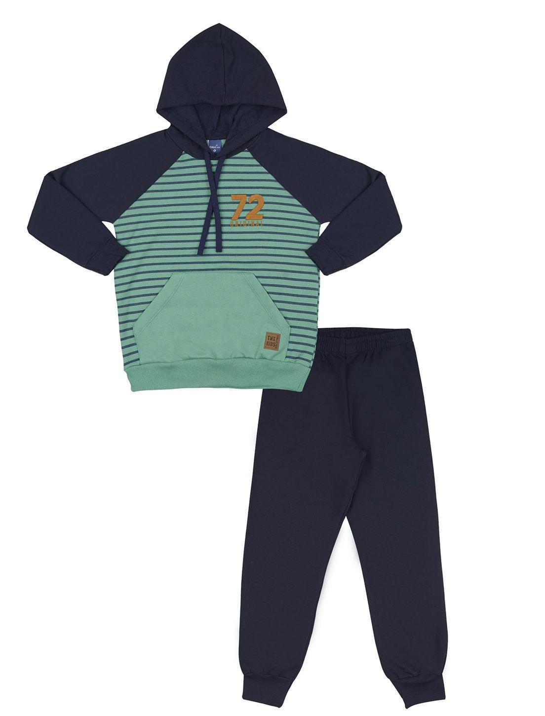 Conjunto TMX  Blusa Moleton  e Calça Jogger Moletom Listas Verde e Marinho