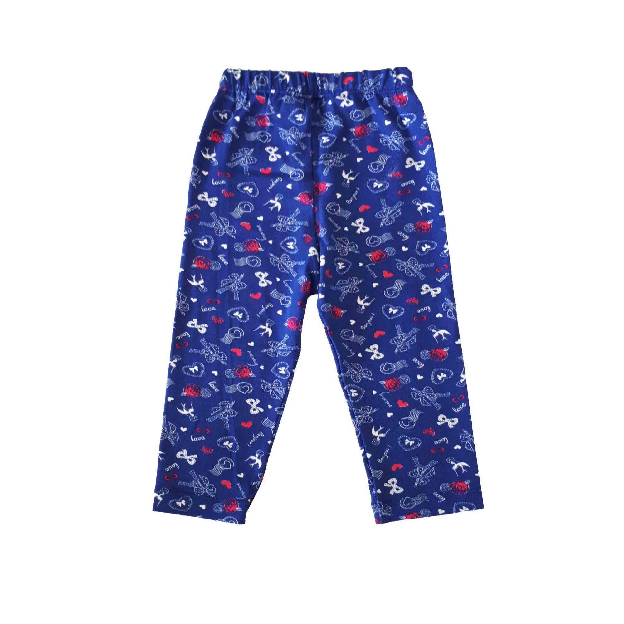 Kit 2 Legging bebê e 2 laços Zip Toys  Rosa/Azul/ Tamanho 6 a 12 meses