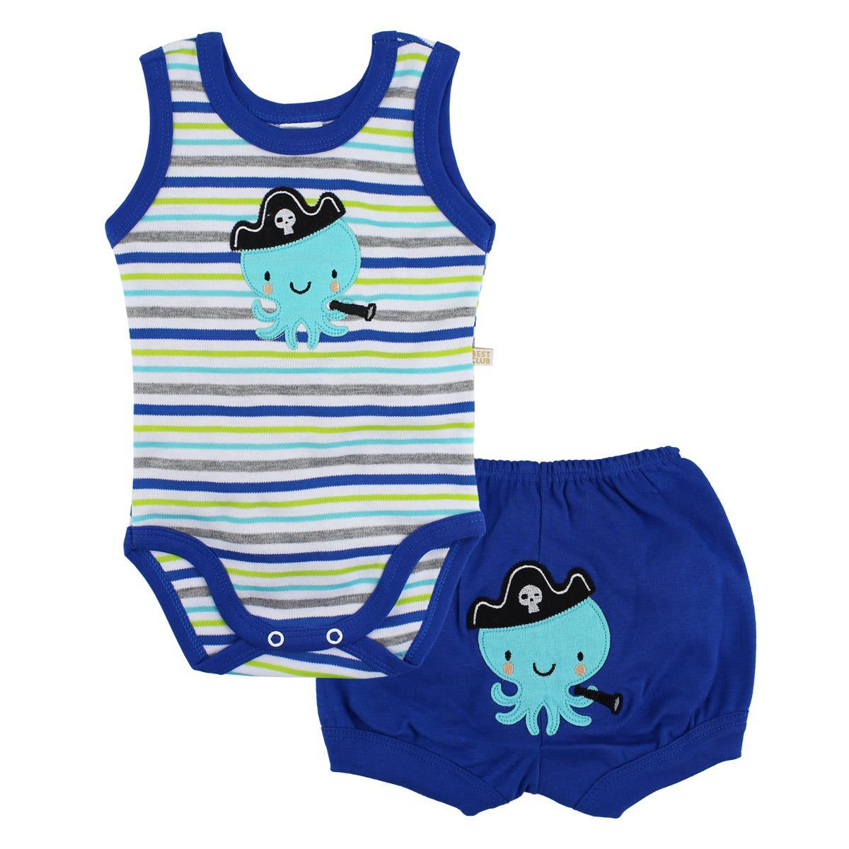 Kit Body Regata Best Club e Short Polvo Azul / Tamanho P