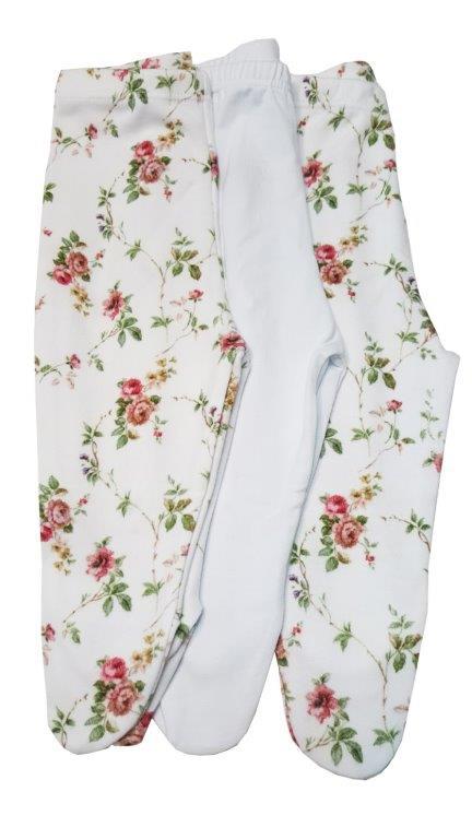 Kit calça Bebê Coquelicot  3 peças com pé florzinha