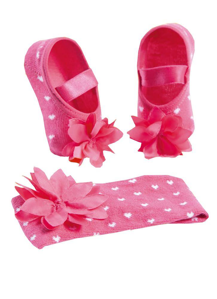 Kit Puket Faixa de Cabelo e Meia Sapatilha Flor Pink