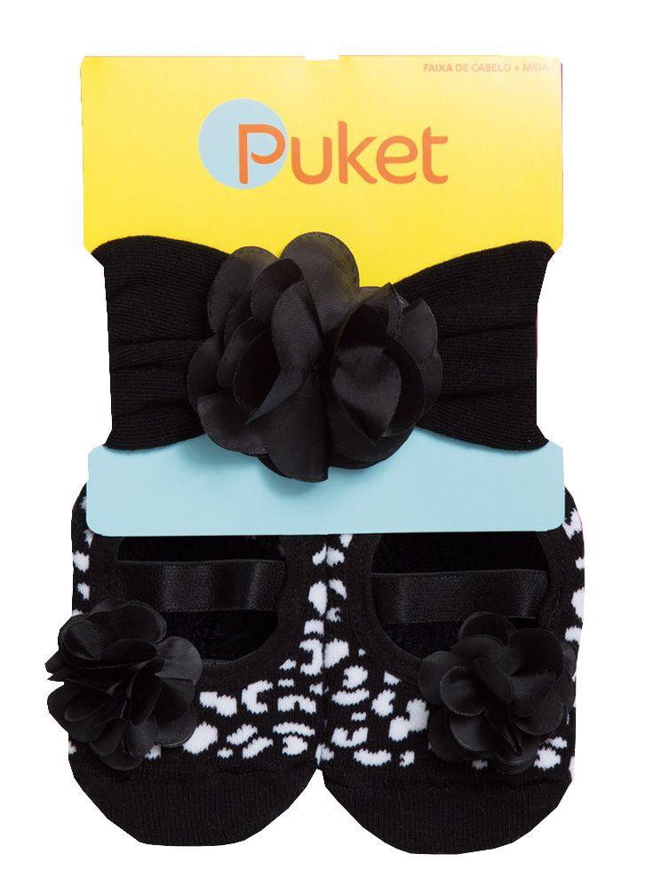 Kit Puket Faixa de Cabelo e Meia Sapatilha Flor Preto  / Tamanho 5 a 8 meses