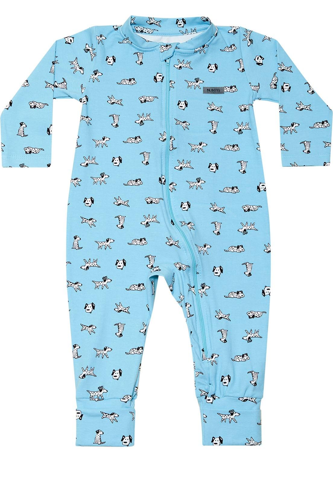 Macacão Bebê Nini&Bambini manga longa em cotton com Zíper Cachorrinho Azul