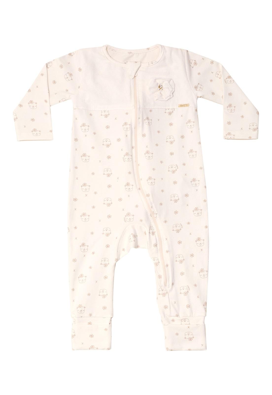 Macacão Bebê Nini&Bambini manga longa em cotton com Zíper Ursinha Off White