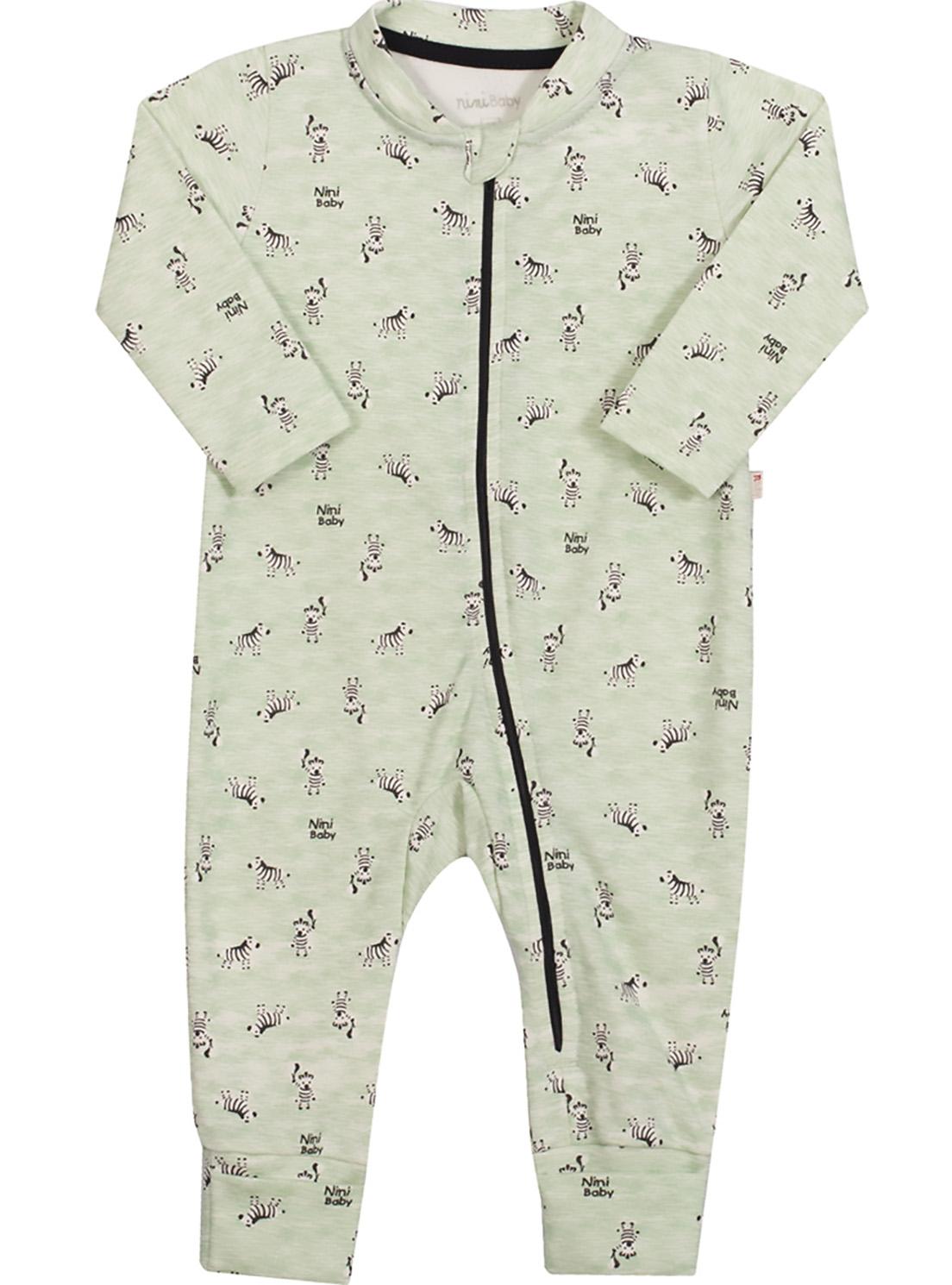 Macacão Bebê Nini&Bambini manga longa em coton com Zíper Zebra verde