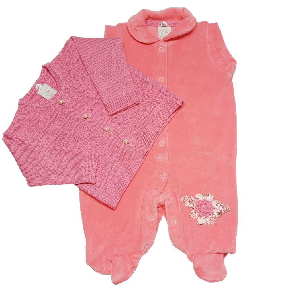 Macacão Bebê Milly Baby com casaco Cosmo Flor
