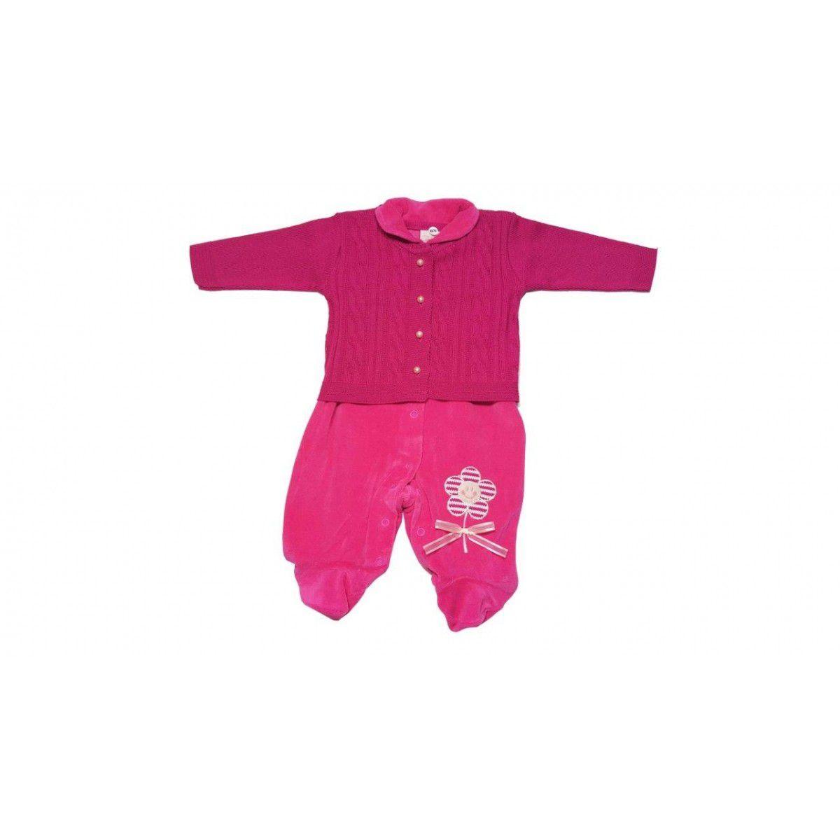 Macacão Milly Baby com casaco Encanto Flor