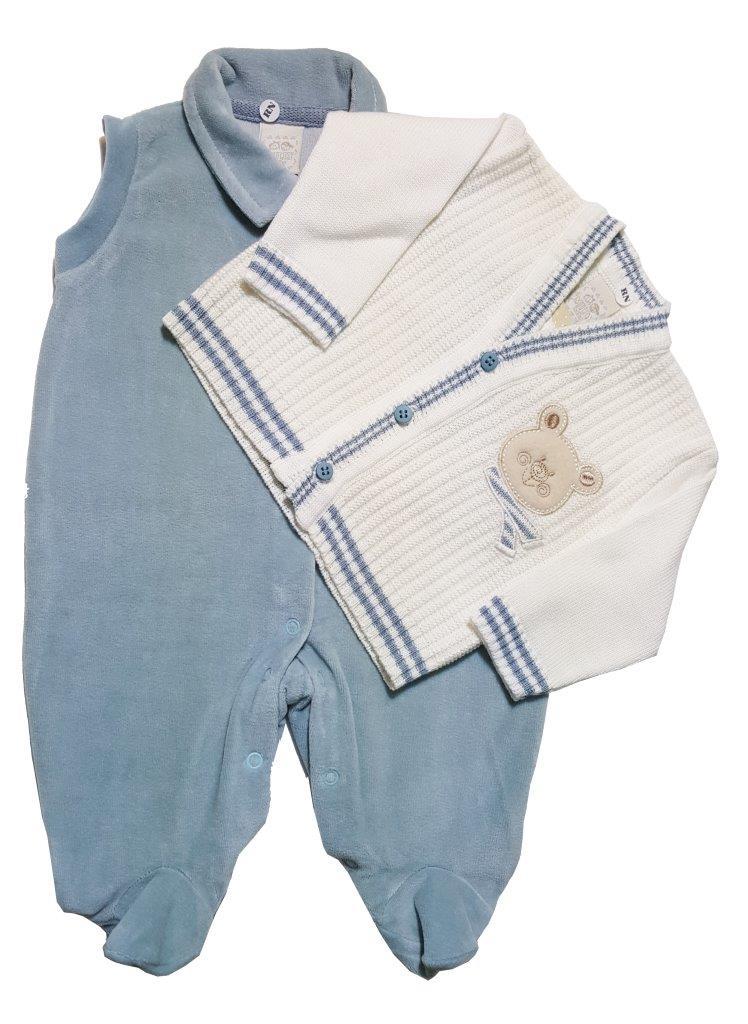 Macacão Milly Baby com casaco ursinho Natural