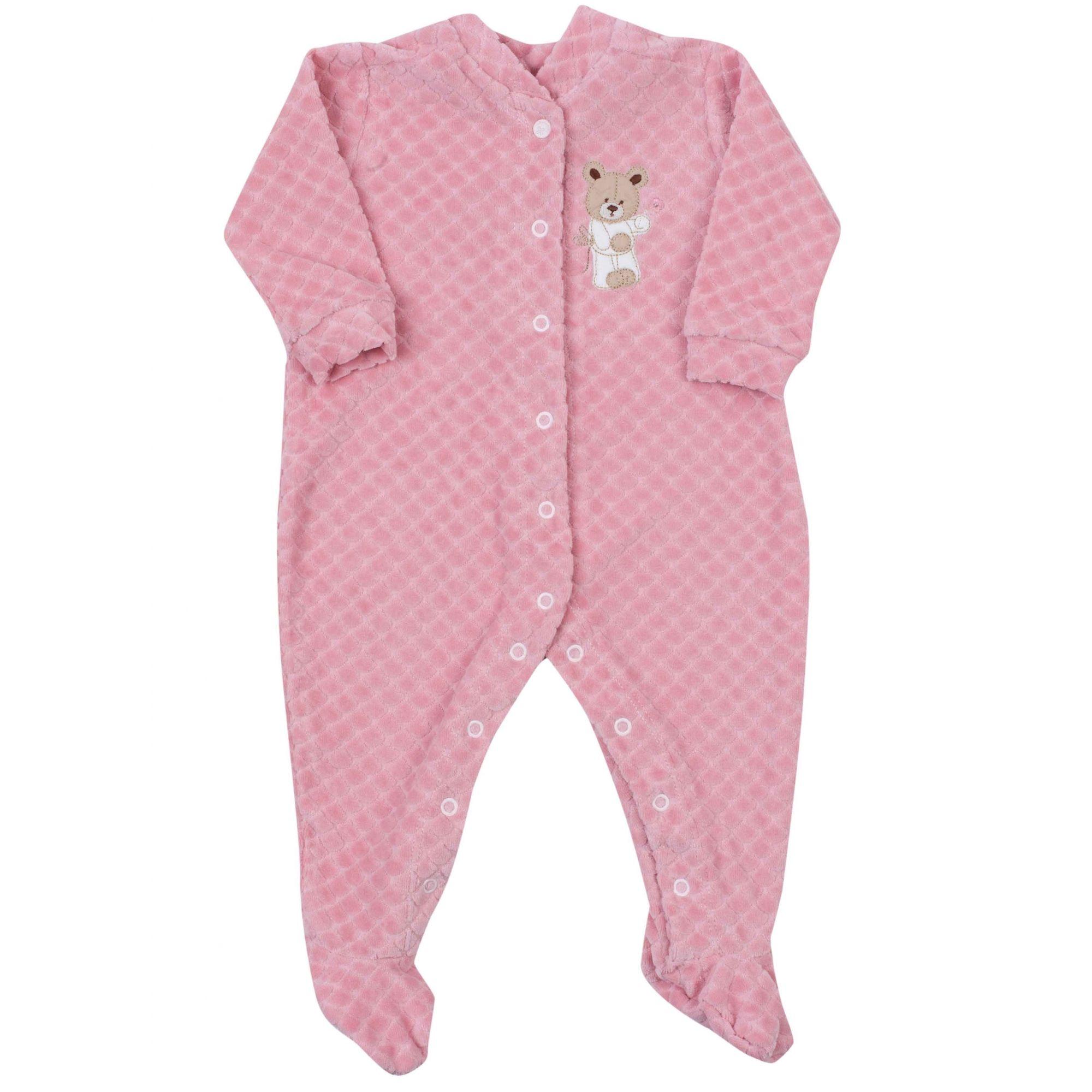 Macacão Bebê Coquelicot com Botão e Pé Estampado Creme Ursinho Rosa