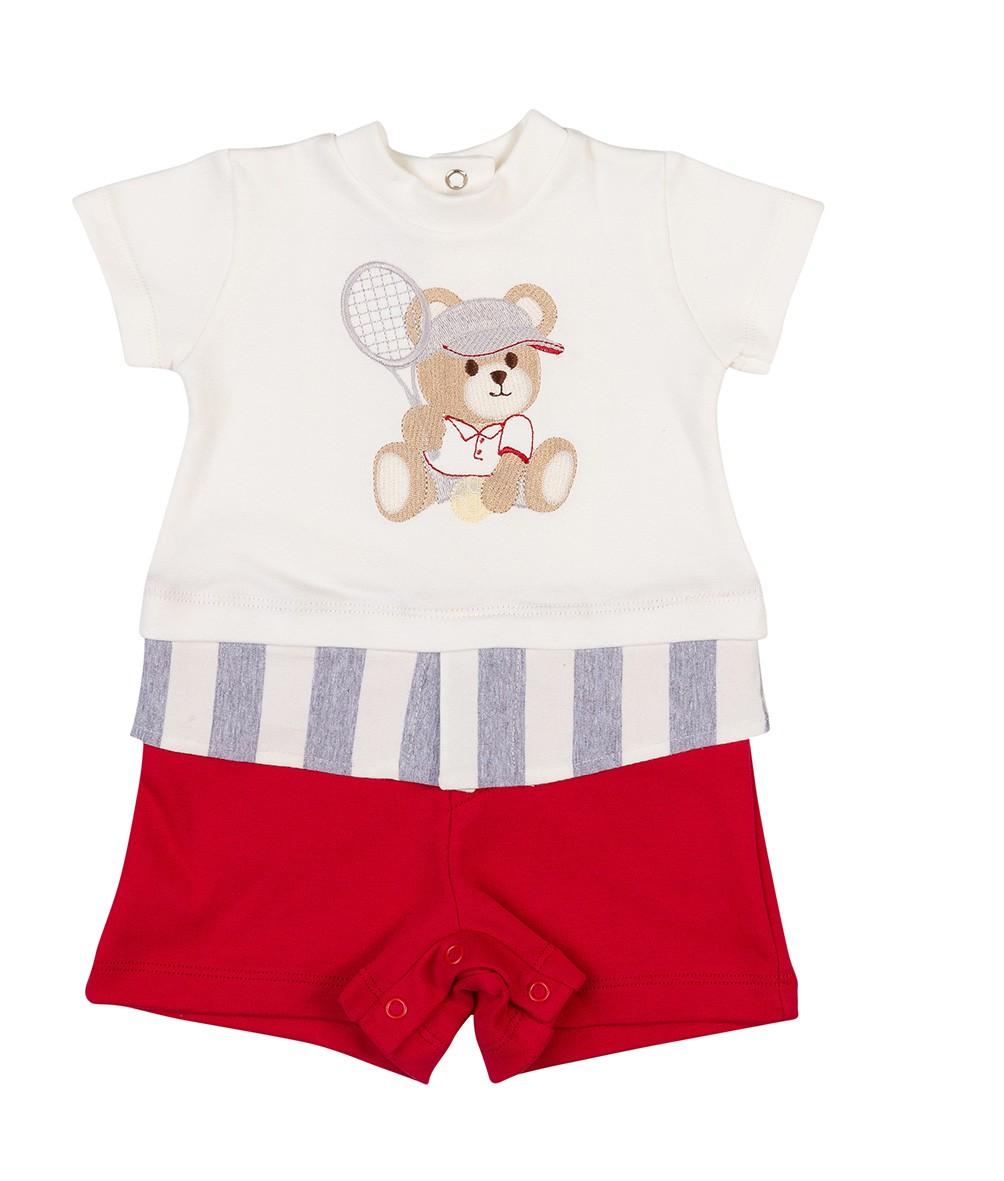 Macacão Bebê Coquelicot curto sobreposto Ursinho Tenista Vermelho