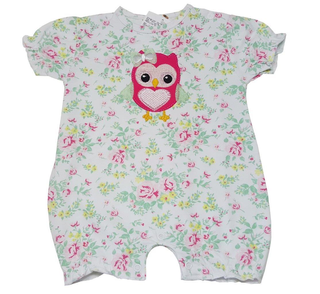 Macacão Curto Bebê Coquelicot curto corujinha