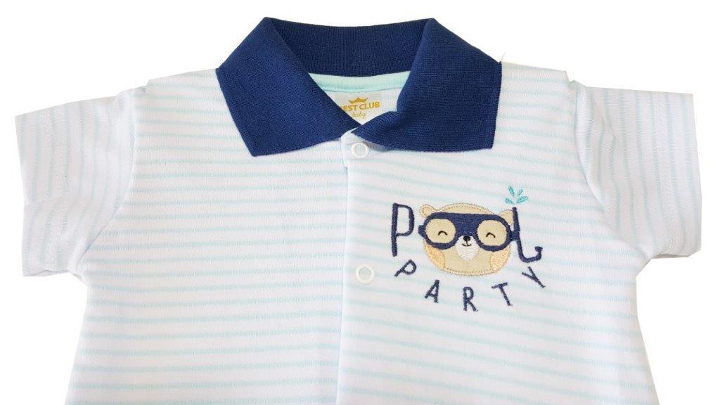 Macacão Curto Polo Best Club Ursinho Azul