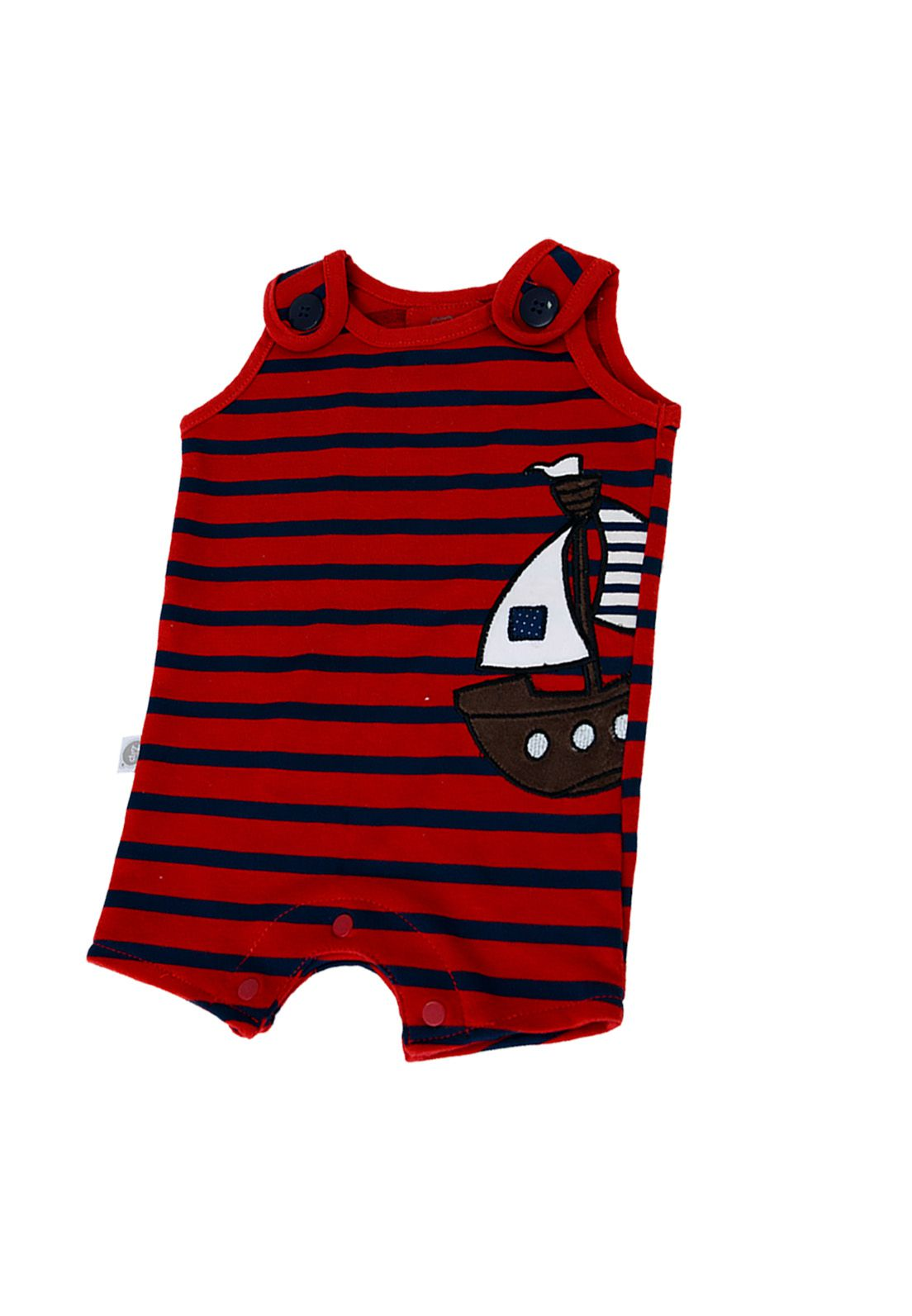 Macacão Curto Bebê Zip Toys Pirata Listrado Vermelho/Marinho
