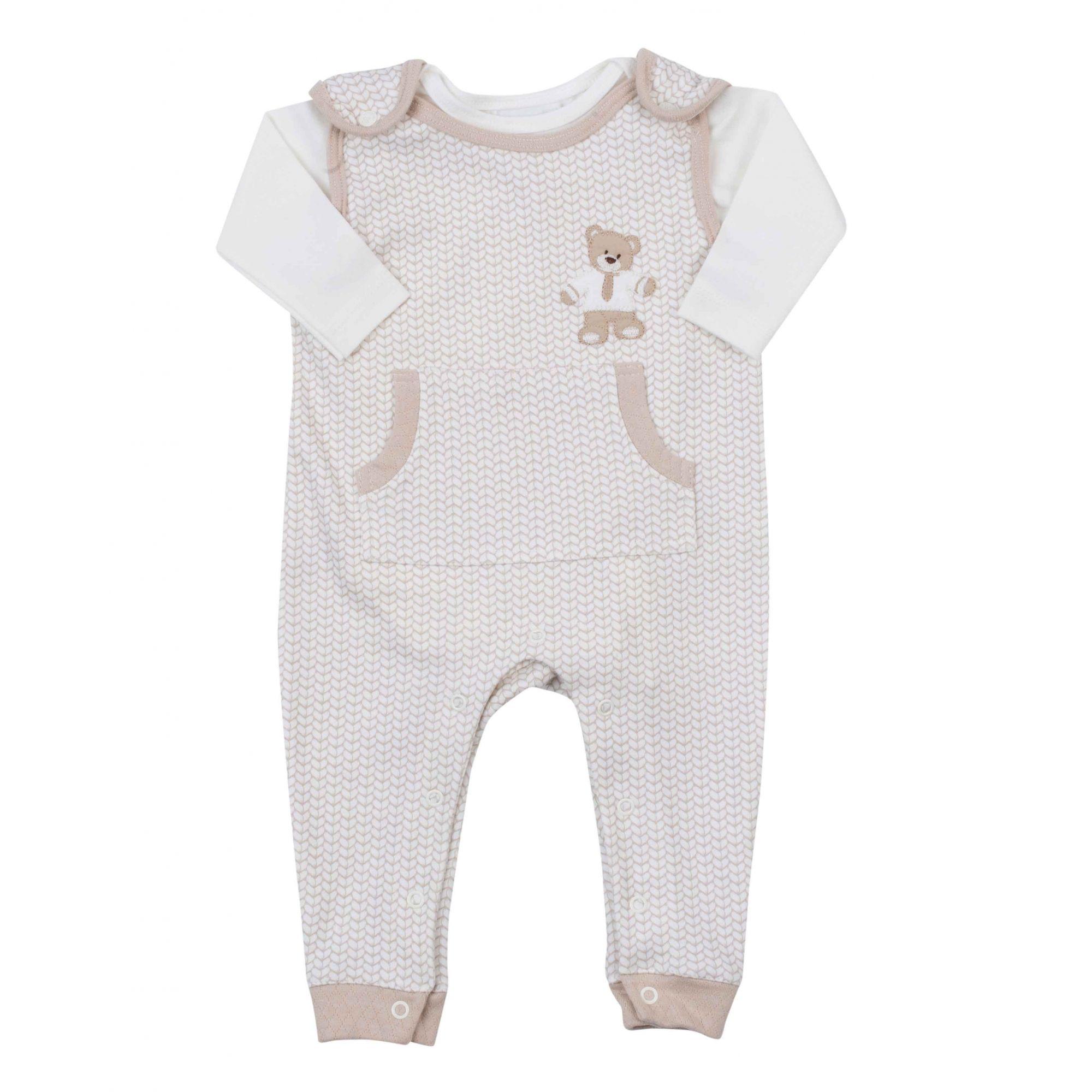 Macacão Jardineira Bebê com Body Coquelicot Ursinho / Creme 2 pçs