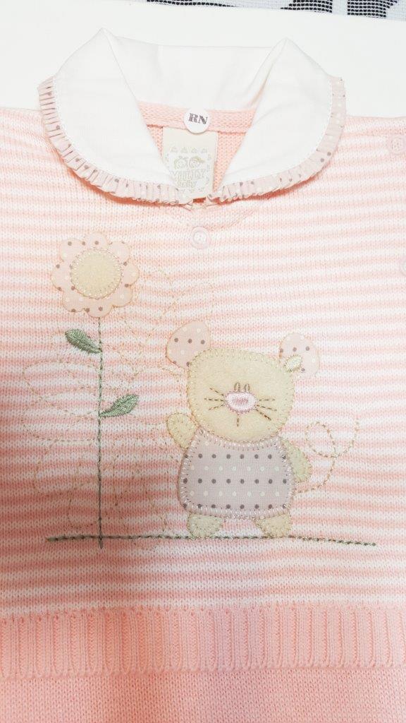 Macacão Milly Baby Pale Rose Ratinha / Tamanho RN