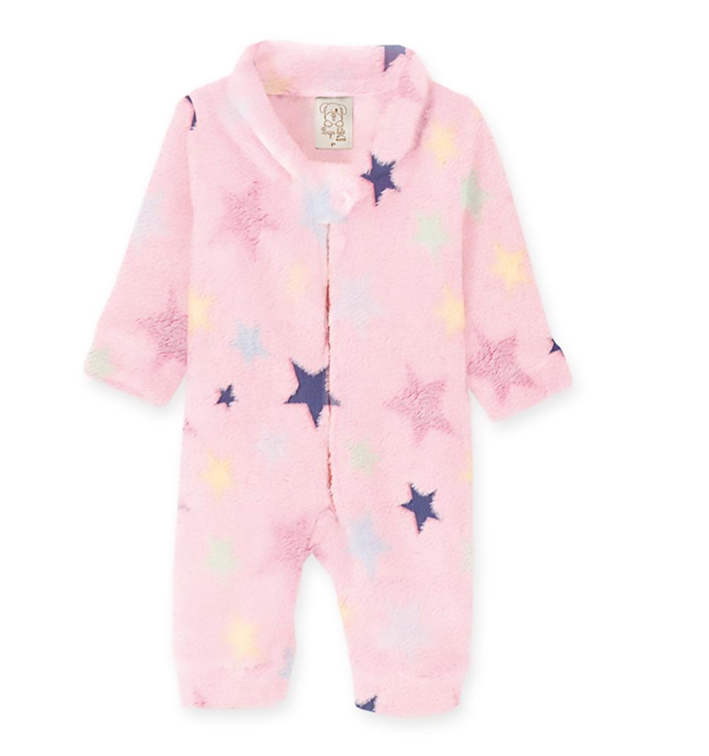 Macacão Pijama Bebê e Infantil Fleece Pingo Lelê  Estrela Rosa