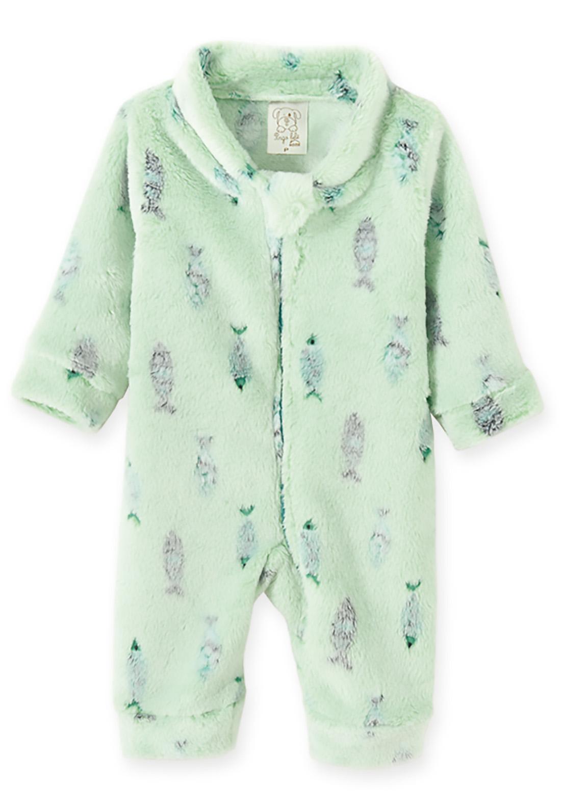 Macacão Pijama Bebê e Infantil Fleece Pingo Lelê  Peixe Verde