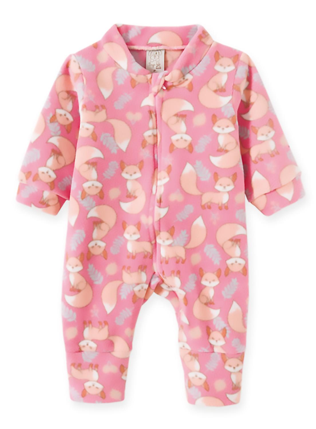 Macacão Pijama Bebê e Infantil Soft Pingo Lelê  Raposa Rosa