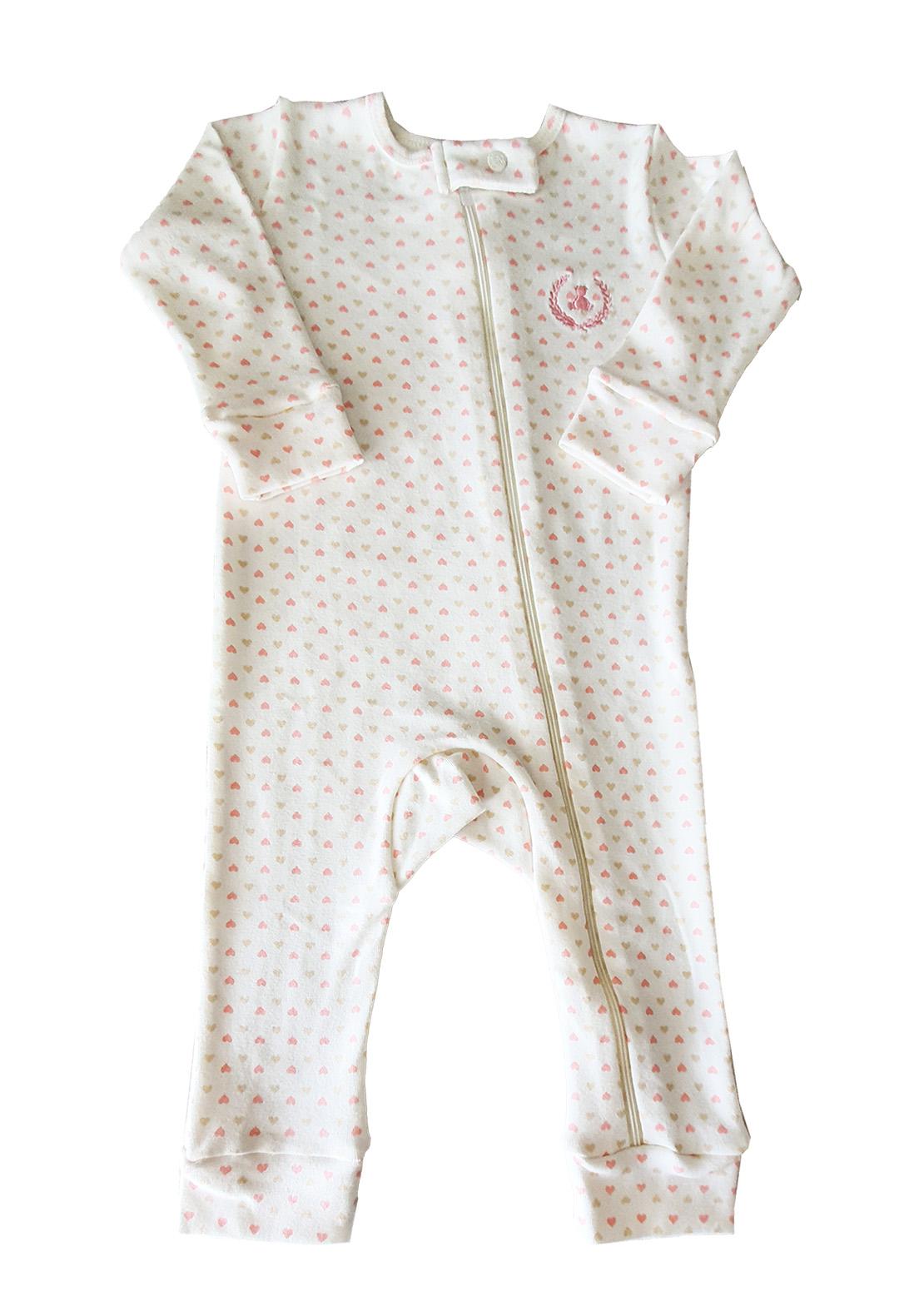 Macacão Pijama Infantil Coquelicot  com zíper e sem pé Coraçãozinho off White