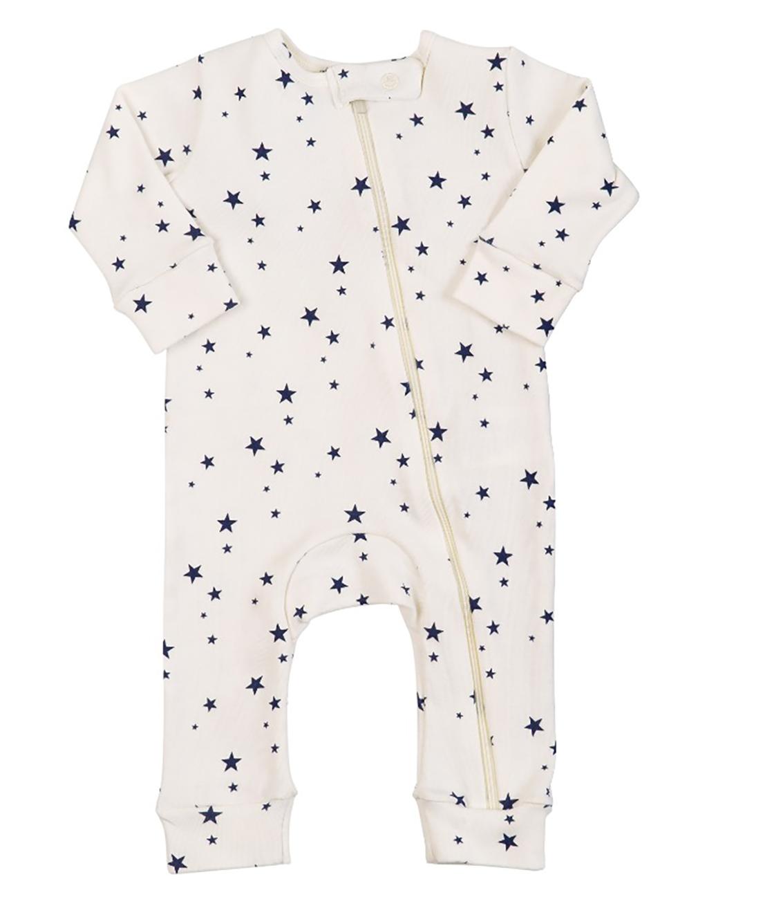 Macacão Pijama Infantil Coquelicot  com zíper e sem pé Estrelinhas Off White