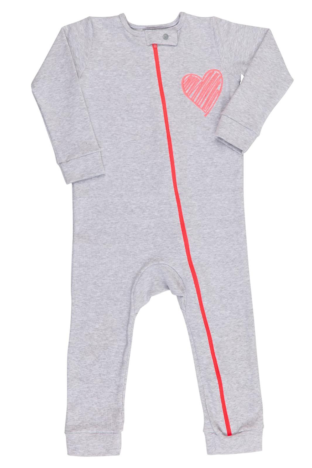 Macacão Pijama Infantil Coquelicot  com zíper e sem pé Mescla Coração Pink