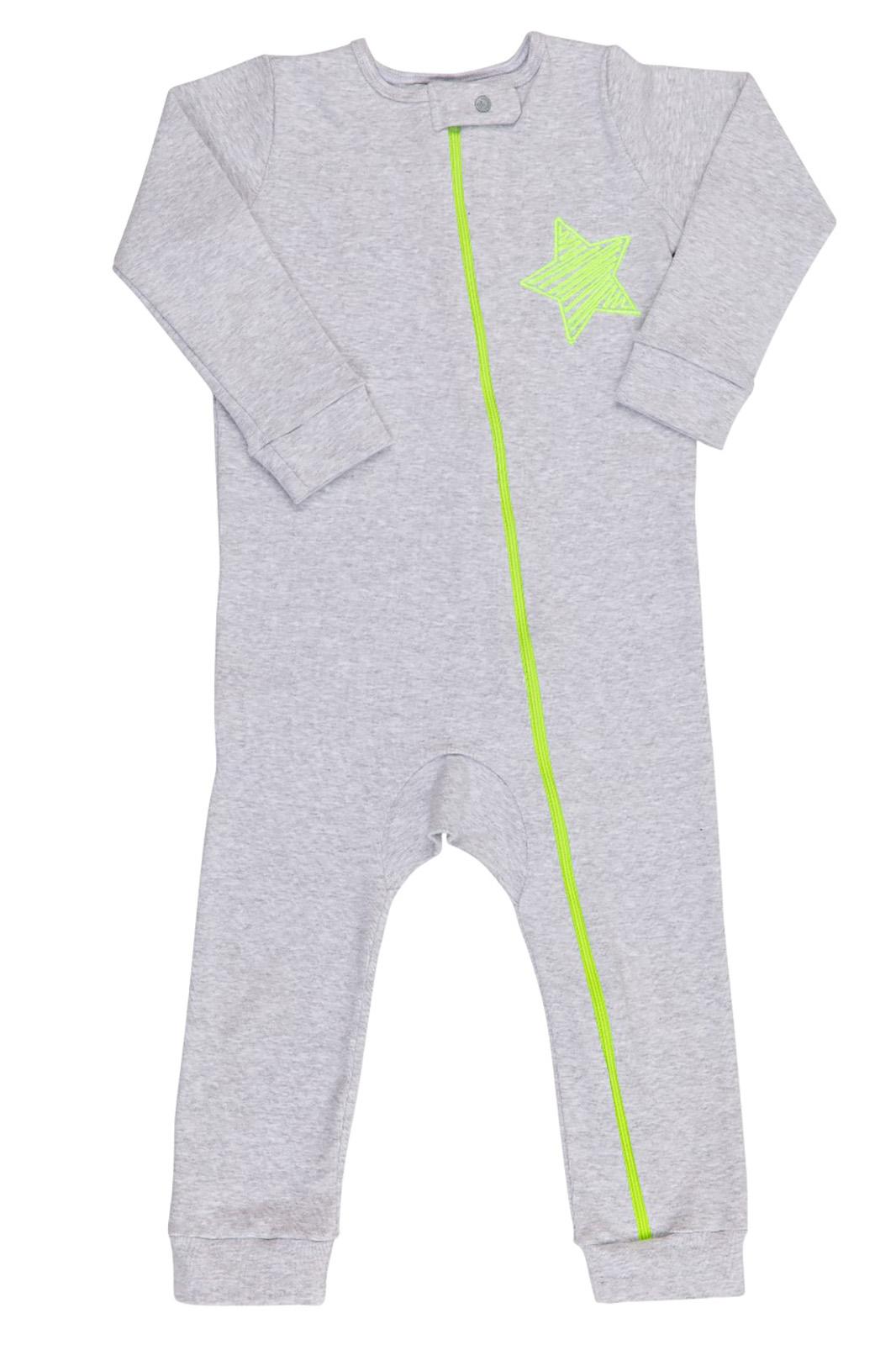 Macacão Pijama Infantil Coquelicot  com zíper e sem pé Mescla Coração Verde