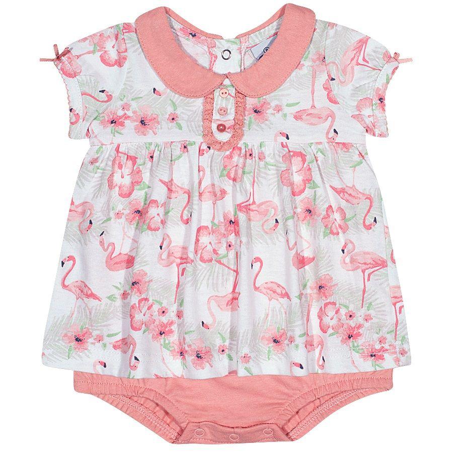 Macaquinho Vestido Tip Top Flamingos - Tamanho M