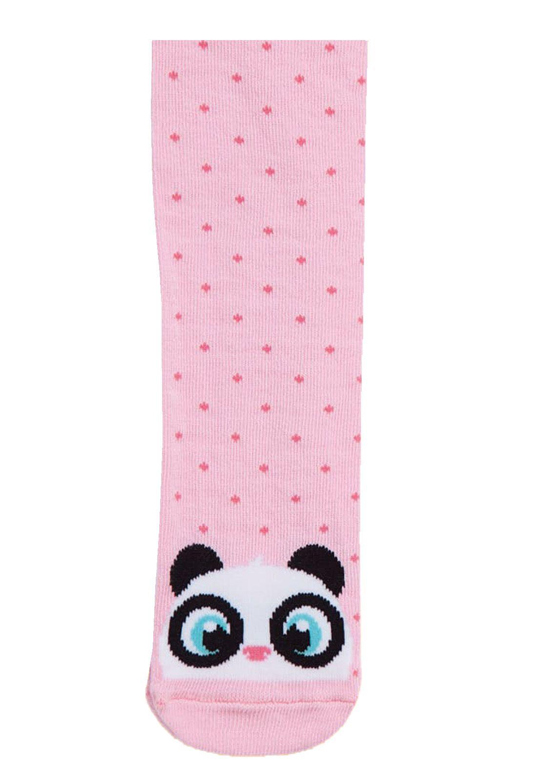 Meia Calça Desenhada Puket  Panda Rosa / Tamanho 6 a 12 meses