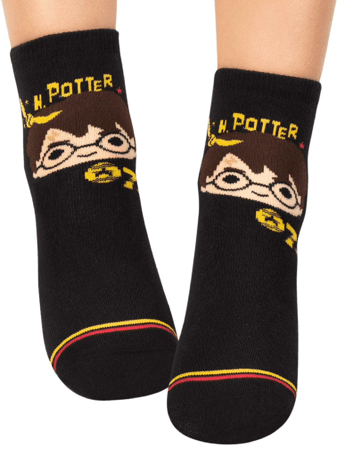 Meia Puket Soquete com sola emborrachada (Pansock) Harry Potter  Preta