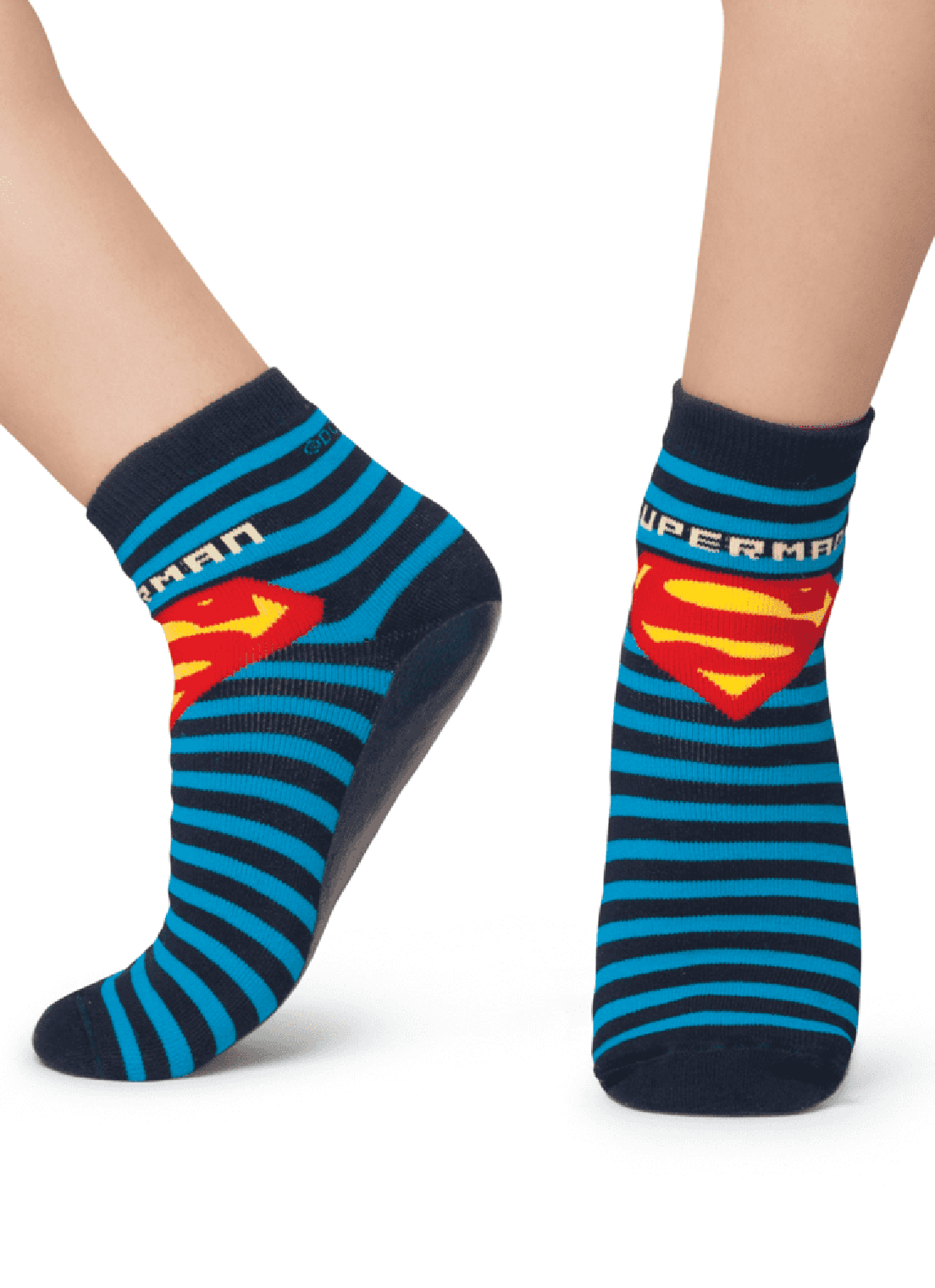 Meia Puket Soquete com sola emborrachada (Pansock) Superman Marinho
