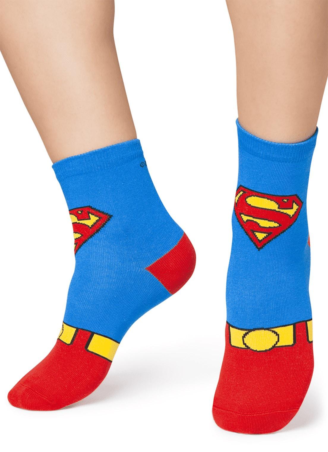 Meia soquete desenhada Puket  Superman Azul