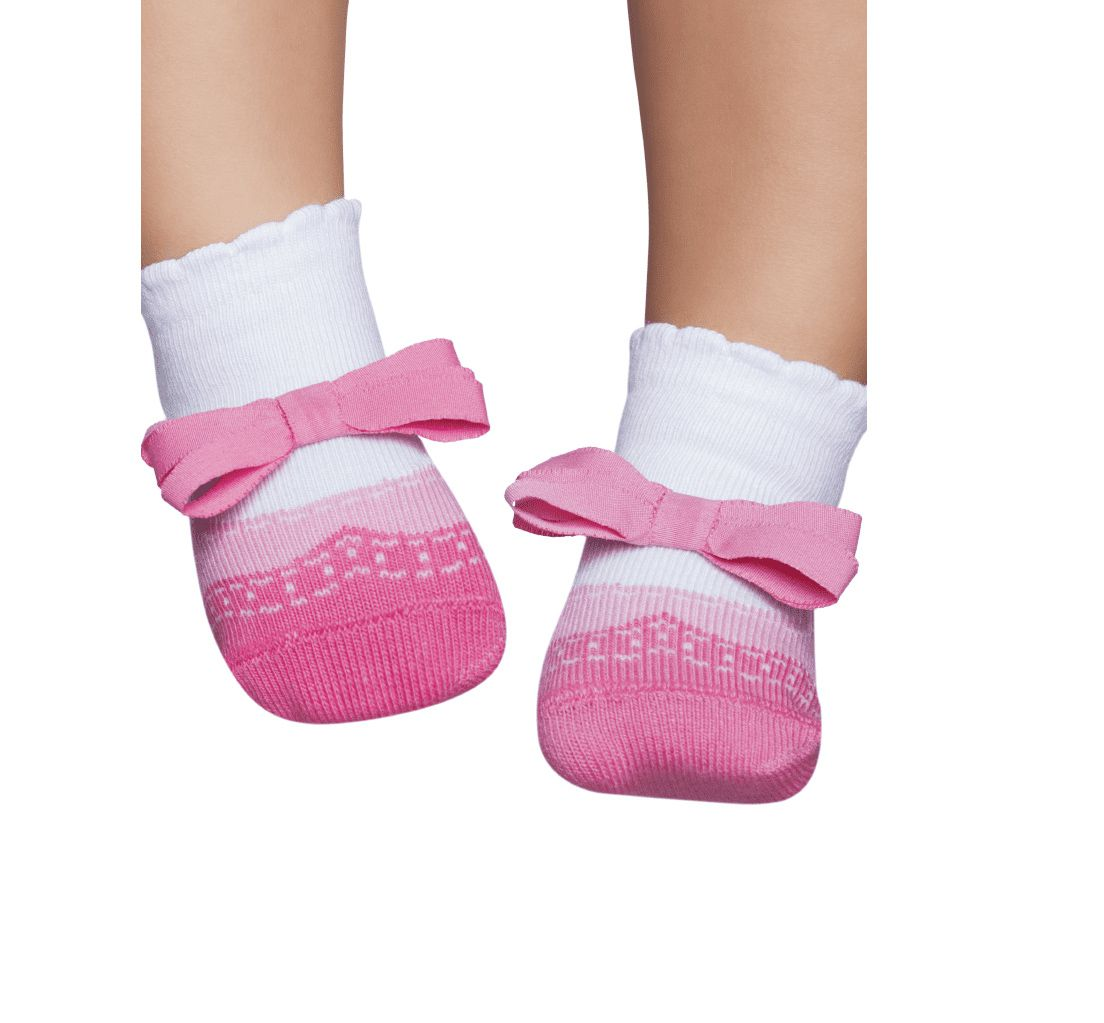 Meia soquete Puket Baby com Aplique laço Rosa