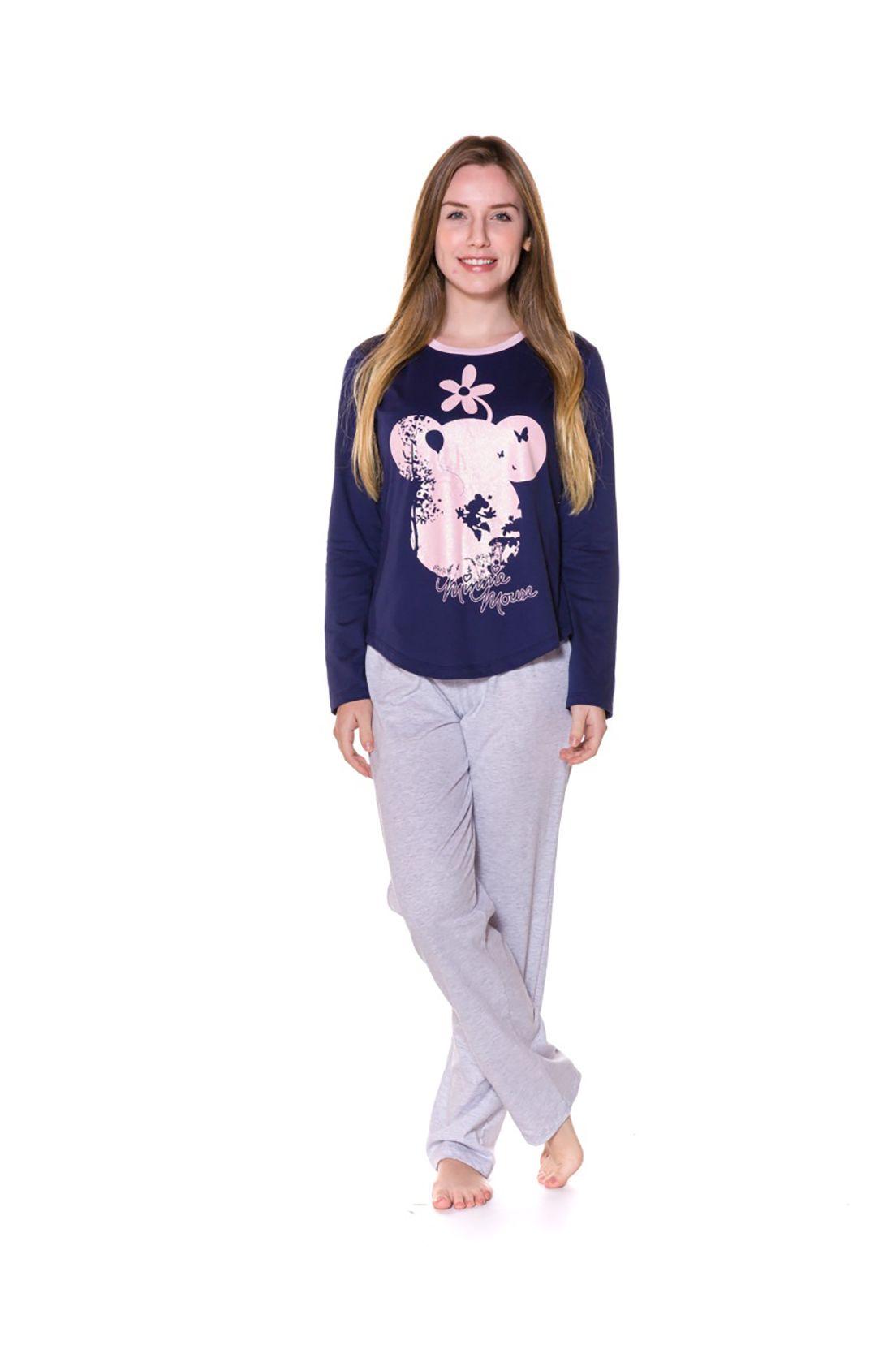 Pijama Adulto Camiseta Manga Longa e Calça Evanilda  Minni Marinho e Rosa