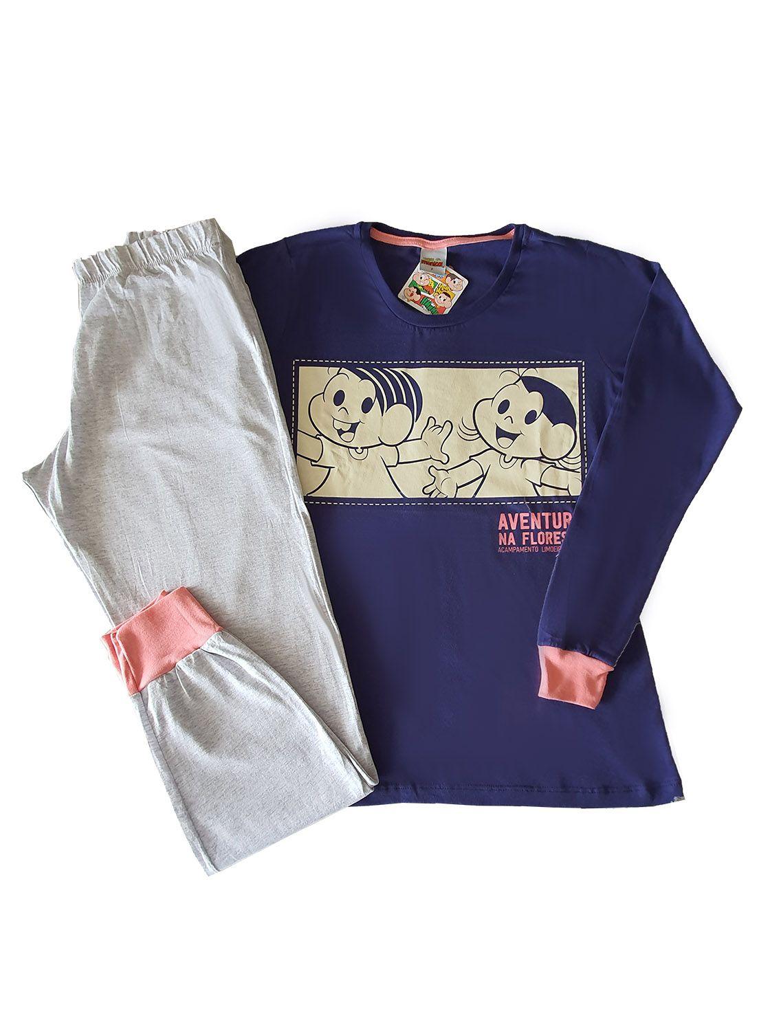 Pijama Adulto Camiseta Manga Longa e Calça Evanilda  Turma da Mônica Marinho e Mescla.