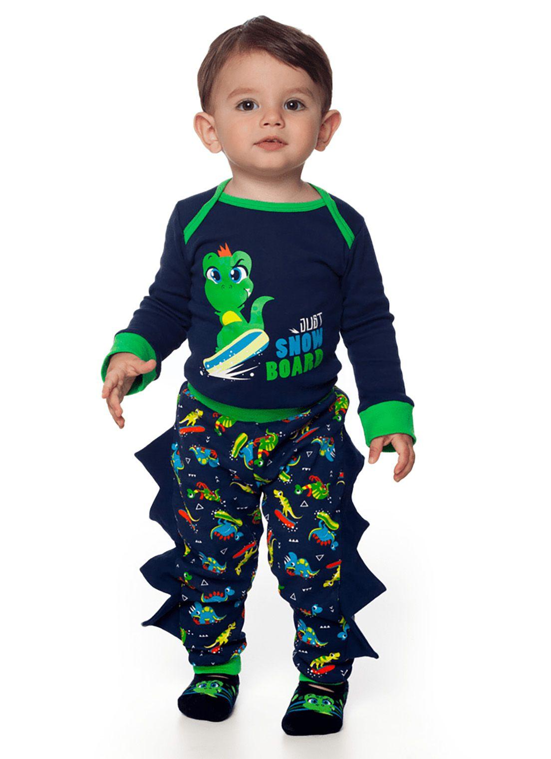 Pijama Fantasia  bebê  Puket  Body e calça Dinossauro Marinho