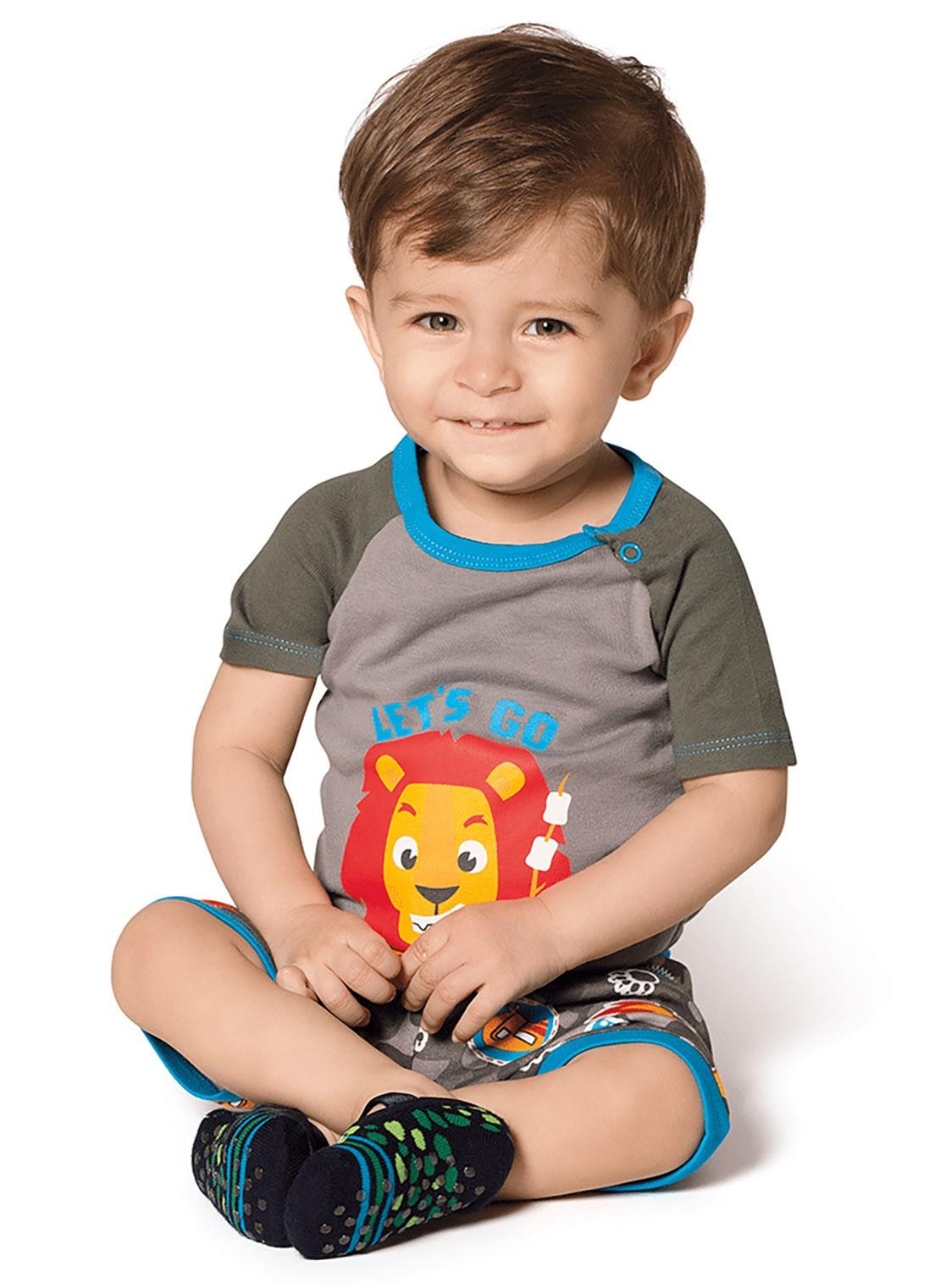 Pijama  bebê  Puket  Body e shorts Leão Lets`s go camping