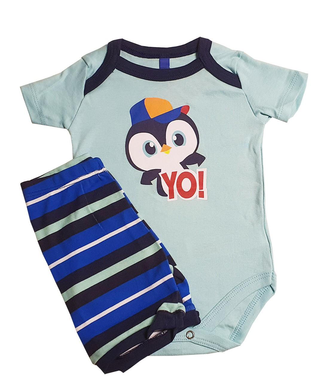 Pijama  bebê  Puket  Body e shorts Pinguim
