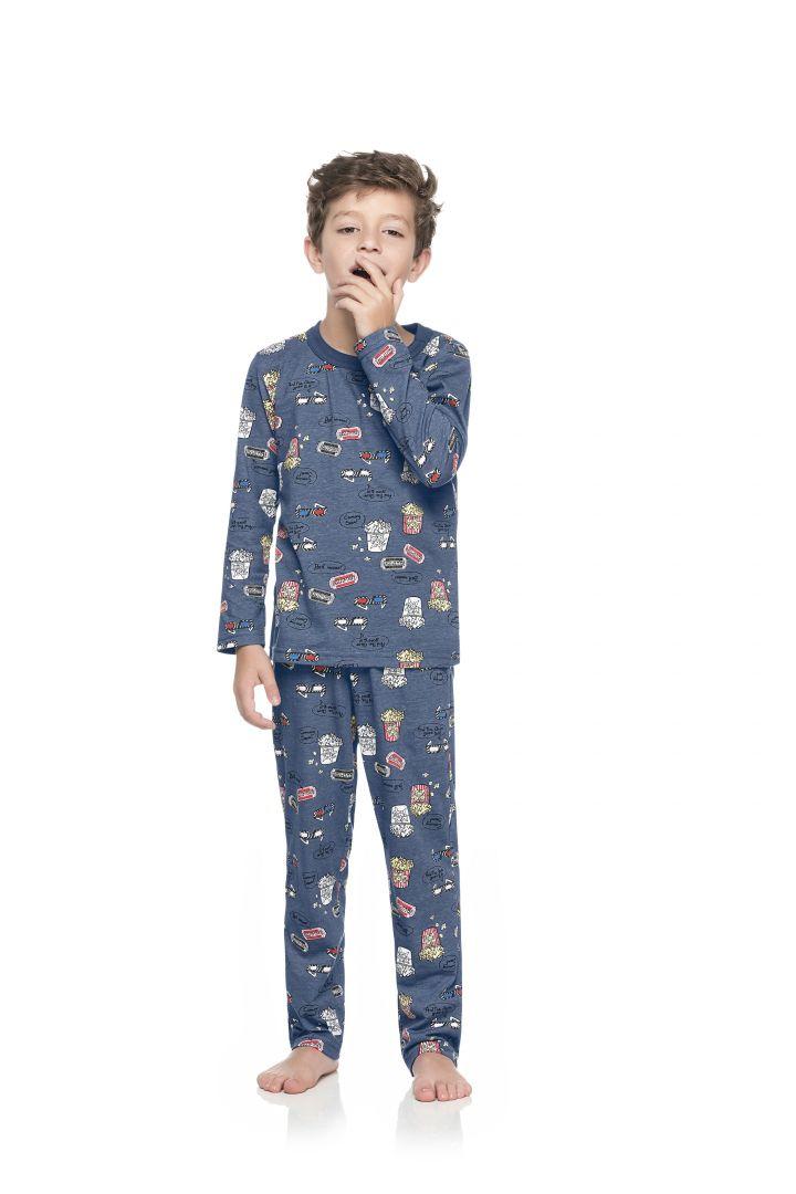 Pijama Blusa e calça Quimby Cinema Azul - Tamanho 8