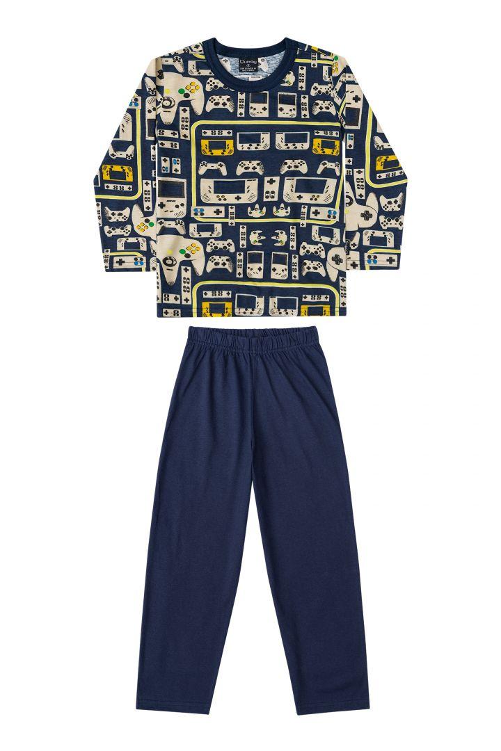 Pijama Blusa e calça Quimby Game Marinho