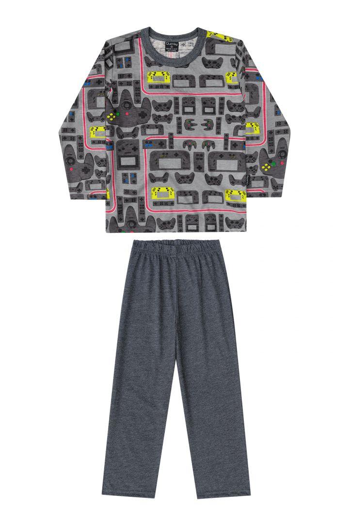 Pijama Infantil Blusa e calça Quimby Game Mescla