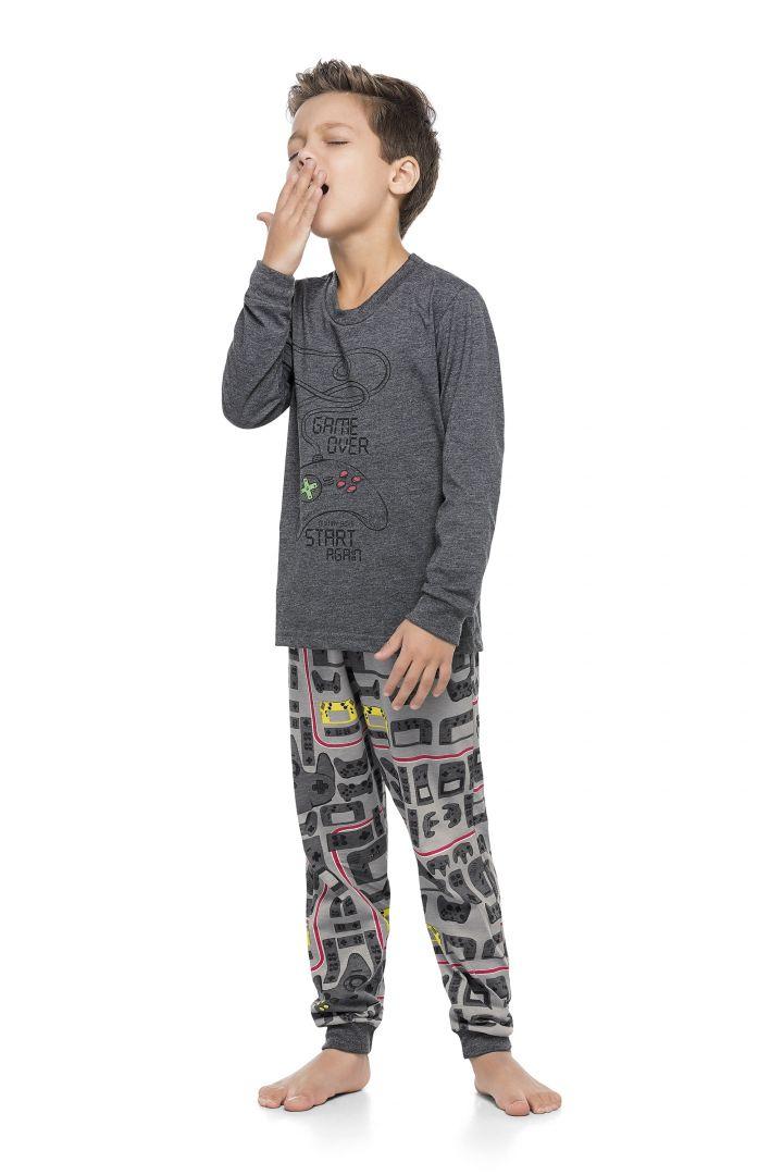Pijama Blusa e calça Quimby Game Over Mescla  - Tamanho 8